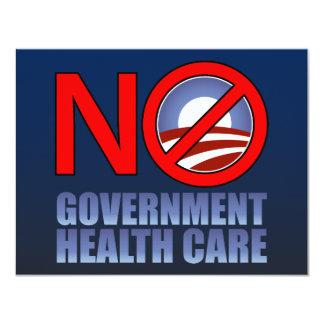 """No Government Health Care 4.25"""" X 5.5"""" Invitation Card"""