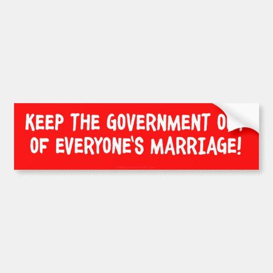 No Government Marriage Bumper Sticker