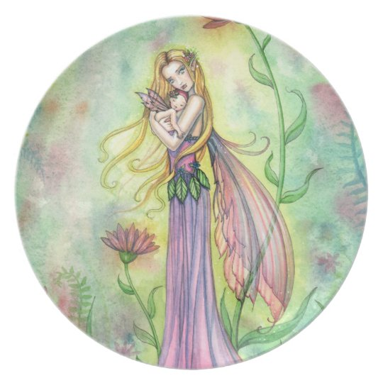 No Greater Gift Fairy Mother and Baby Plate