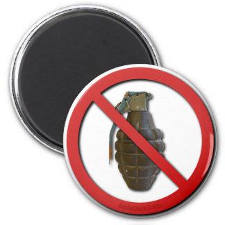 No Grenades 2 Inch Round Magnet