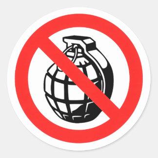 No Grenades Classic Round Sticker
