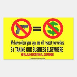 NO GUN, NO MON RECTANGULAR STICKER