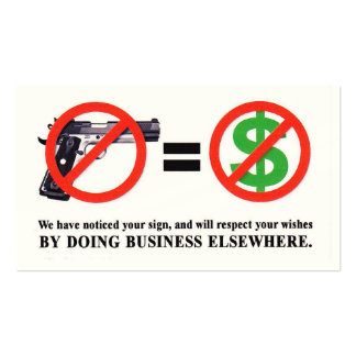 No Guns. No Money Card Business Card