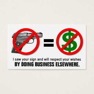 """""""No Guns No Money"""" Missouri CCW Business Card (1J)"""