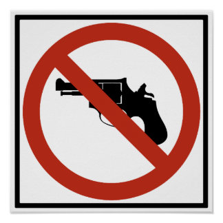 No Guns Permitted Highway Sign Posters
