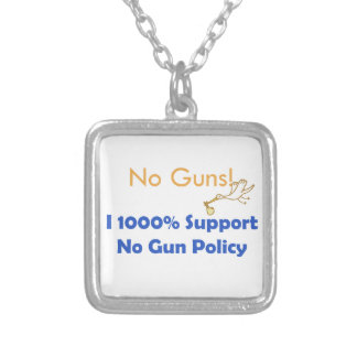 No guns! We need  food, cloth and shelter Silver Plated Necklace
