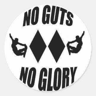 no guts no glory classic round sticker