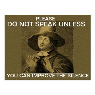 No hable a menos que… postales