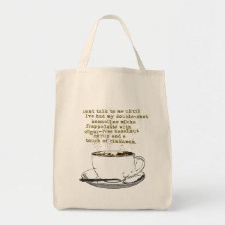 No hable el café de la necesidad bolsa tela para la compra