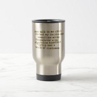 No hable el café de la necesidad taza de viaje