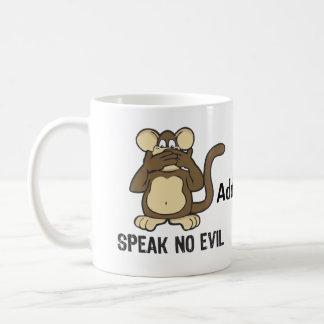 No hable ningún mono del mal - personalice taza básica blanca