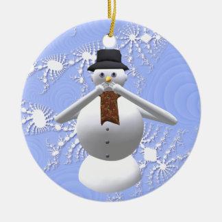 No hable ninguna decoración malvada del árbol de adorno navideño redondo de cerámica