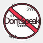 No hable pegatina redonda