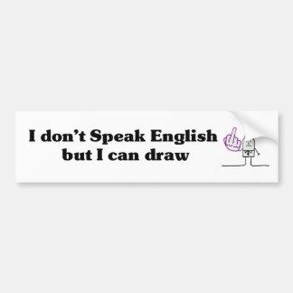 No hablo inglés - pegatina para el parachoques pegatina para auto