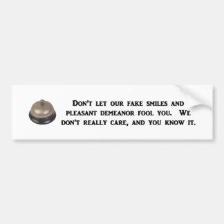 no hace - el dejar-nuestro-falsificación-sonrisa-y etiqueta de parachoque