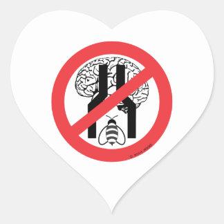 No hace el negro cerebrado estrecho WH. del RD de Pegatina En Forma De Corazón
