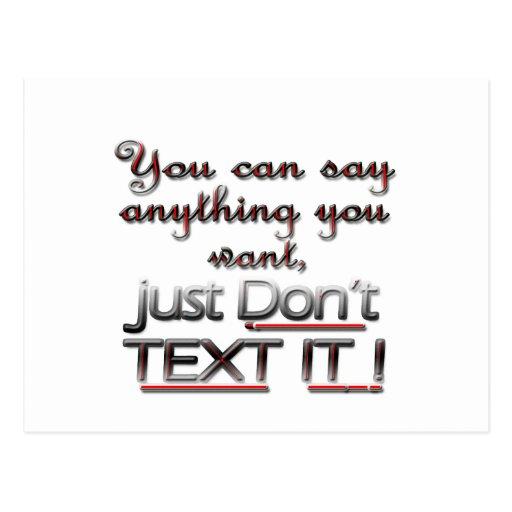 ¡No hace el texto It3! Postal