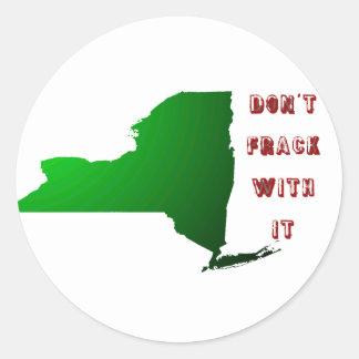No hace Frack con Nueva York Etiqueta Redonda