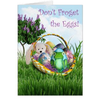 ¡No hace Froget los huevos Huevo de la rana y ces Tarjetón