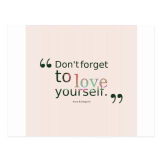 No hace - olvidar-a-amor-usted mismo. - postales