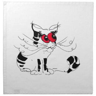 No hace usted enoja el gato servilleta imprimida