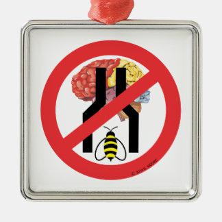 No hacen cerebrados estrechos de la abeja adorno navideño cuadrado de metal