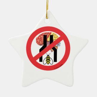 No hacen cerebrados estrechos de la abeja adorno navideño de cerámica en forma de estrella