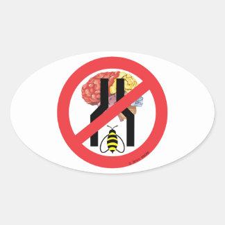 No hacen cerebrados estrechos de la abeja pegatina ovalada
