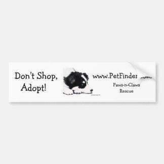 ¡No haga compras, no adopte! , www.PetFinder.com Pegatina Para Auto