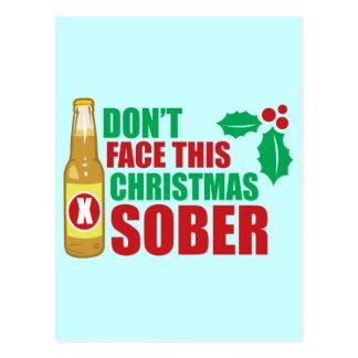 No haga frente este al navidad sobrio tarjeta postal