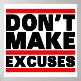 No haga las excusas impresiones