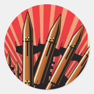 ¡NO HAGA! Por favor no más de guerra Pegatina Redonda