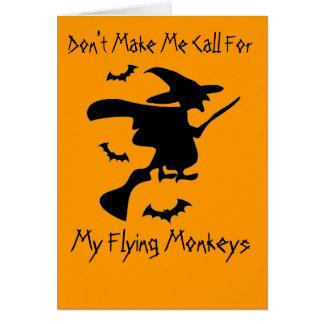 No haga que pide mis monos del vuelo tarjeta de felicitación