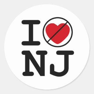 No hago corazón New Jersey Pegatina Redonda
