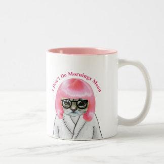 No hago las mañanas, gato gruñón divertido taza dos tonos