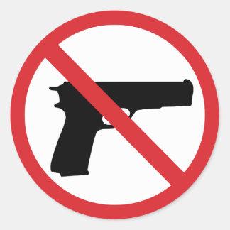No Handguns Round Stickers
