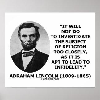 No hará investigan la religión de cerca Lincoln Posters