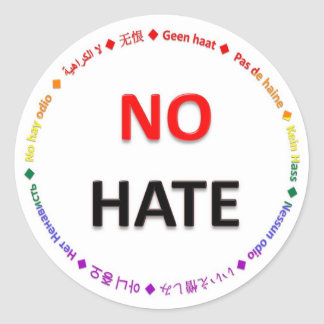 No Hate in Many Languages Classic Round Sticker