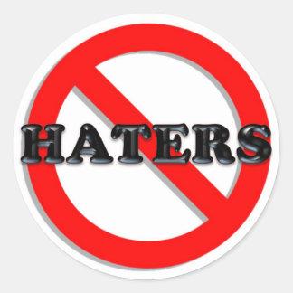No Haters Classic Round Sticker