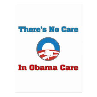 No hay cuidado en el cuidado de Obama Tarjetas Postales