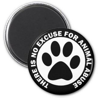 No hay excusa para el abuso animal imán redondo 5 cm