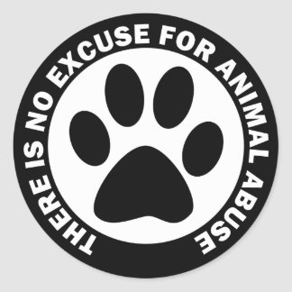 No hay excusa para el abuso animal pegatina redonda