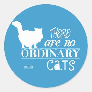 No hay gatos ordinarios - todos los colores pegatina redonda