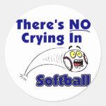 No hay griterío en softball pegatinas redondas