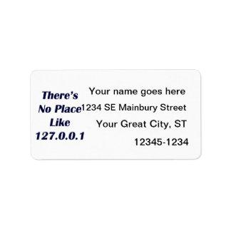 No hay lugar como 127001 etiqueta de dirección