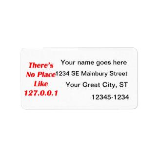 No hay lugar como el rojo 127001 etiquetas de dirección