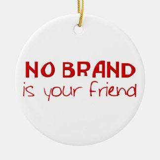 No hay marca su lema del anti-consumerist del adorno navideño redondo de cerámica
