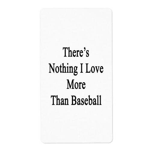 No hay nada amor de I más que béisbol Etiqueta De Envío