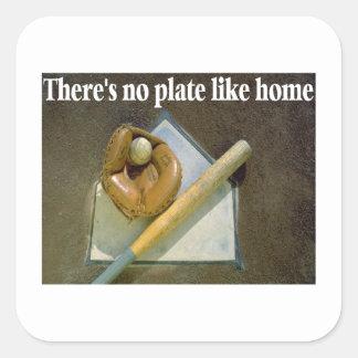 No hay placa como hogar pegatina cuadrada