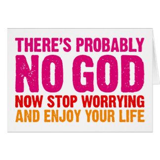 No hay probablemente dios ahora para el preocupar felicitación